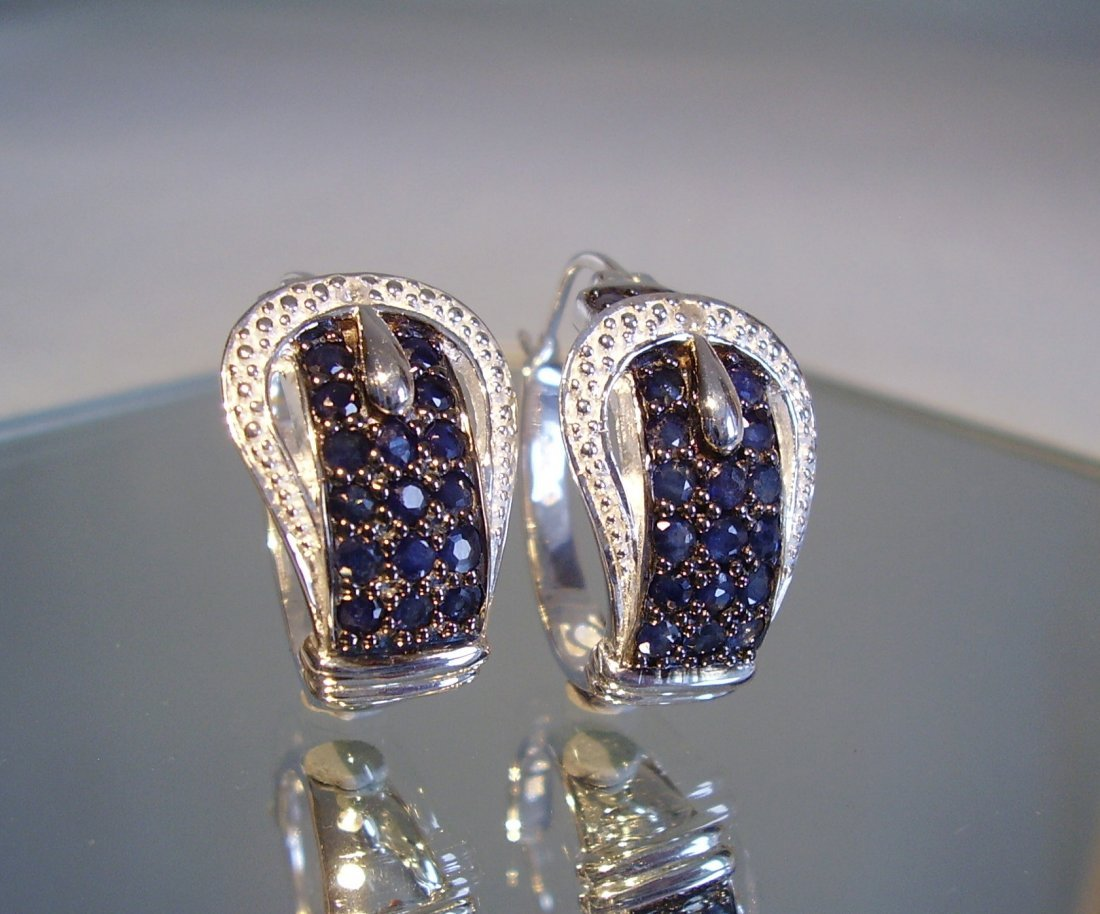 Sterling Silver Blue Sapphire Earrings, 2.4ct