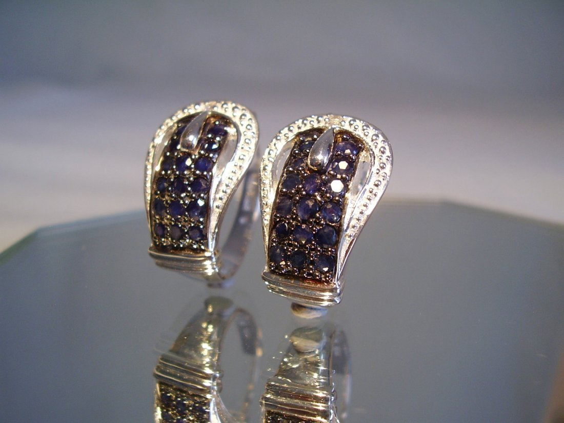 Sterling Silver Blue Sapphire Earrings, 2.4ct - 2