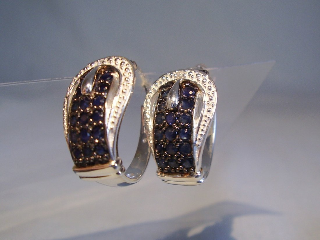 Sterling Silver Blue Sapphire Earrings, 2.4ct - 5