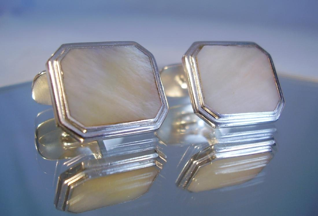 835 Silver Mother of Pearl Cufflinks - 4