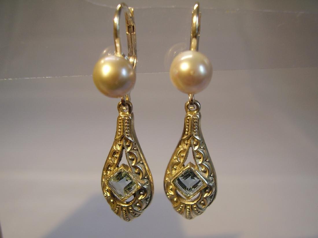 Art Deco 935 Silver Aquamarine Gray Pearls Earrings