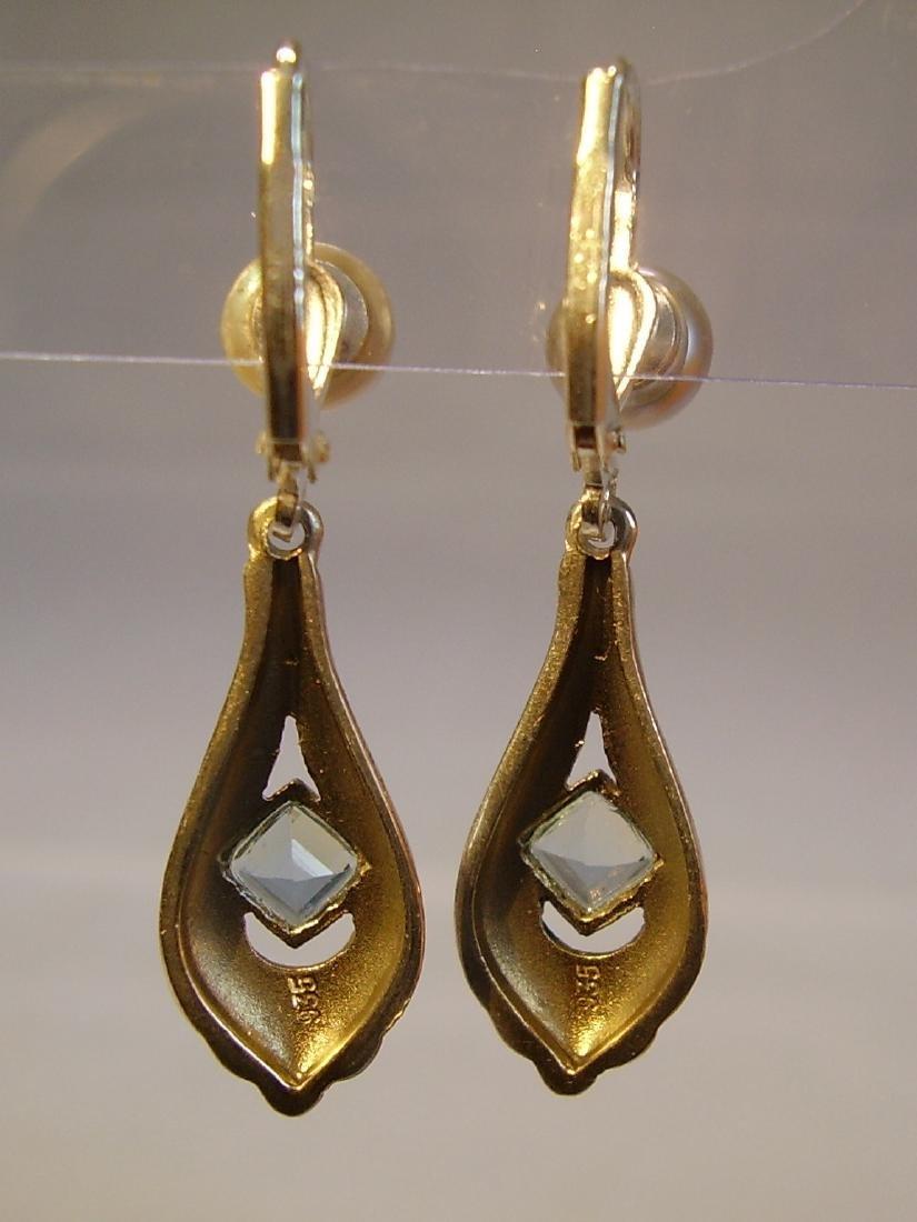 Art Deco 935 Silver Aquamarine Gray Pearls Earrings - 2