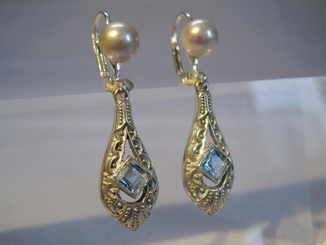 Art Deco 935 Silver Aquamarine Gray Pearls Earrings - 3