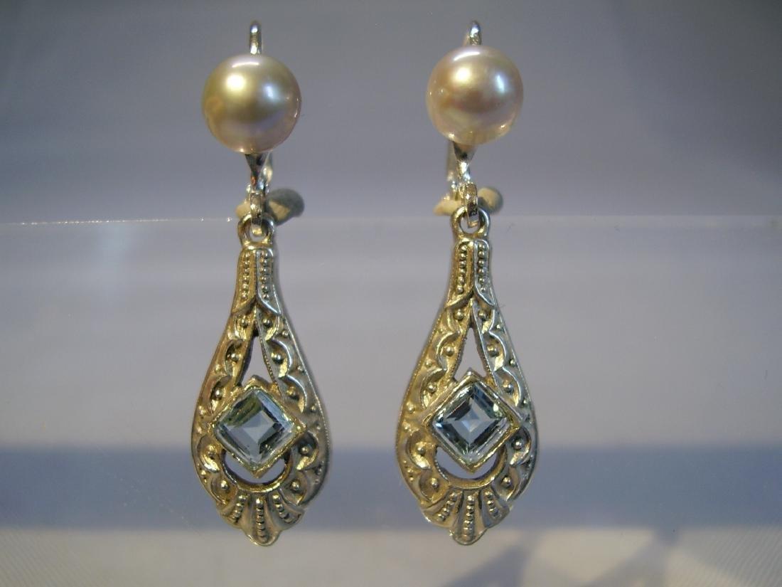 Art Deco 935 Silver Aquamarine Gray Pearls Earrings - 4