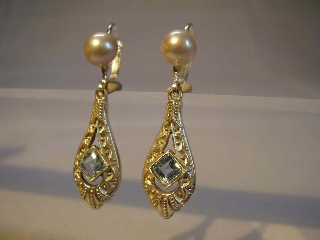 Art Deco 935 Silver Aquamarine Gray Pearls Earrings - 5