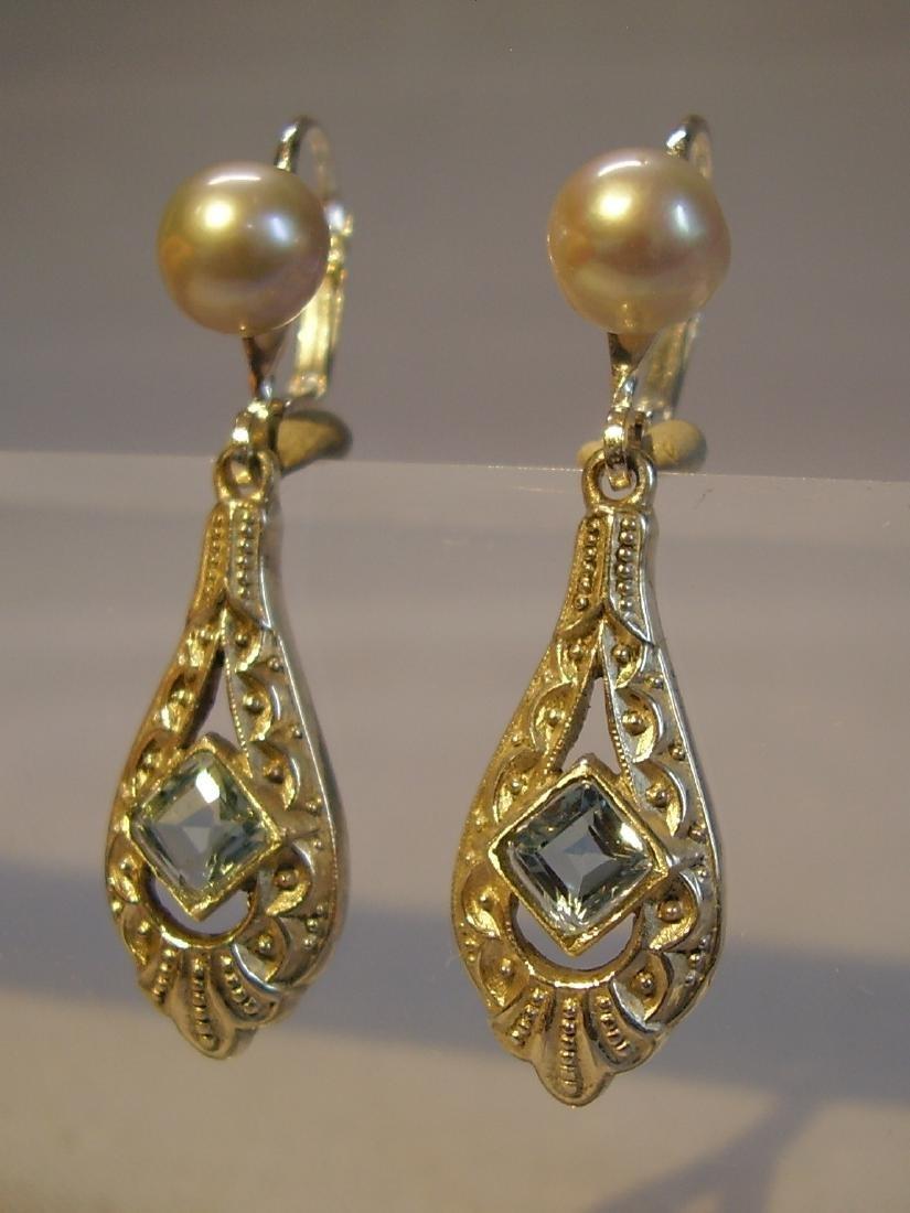 Art Deco 935 Silver Aquamarine Gray Pearls Earrings - 6