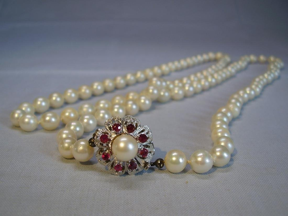 14K Gold Long Saltwater Japanese Akoya-pearls Necklace