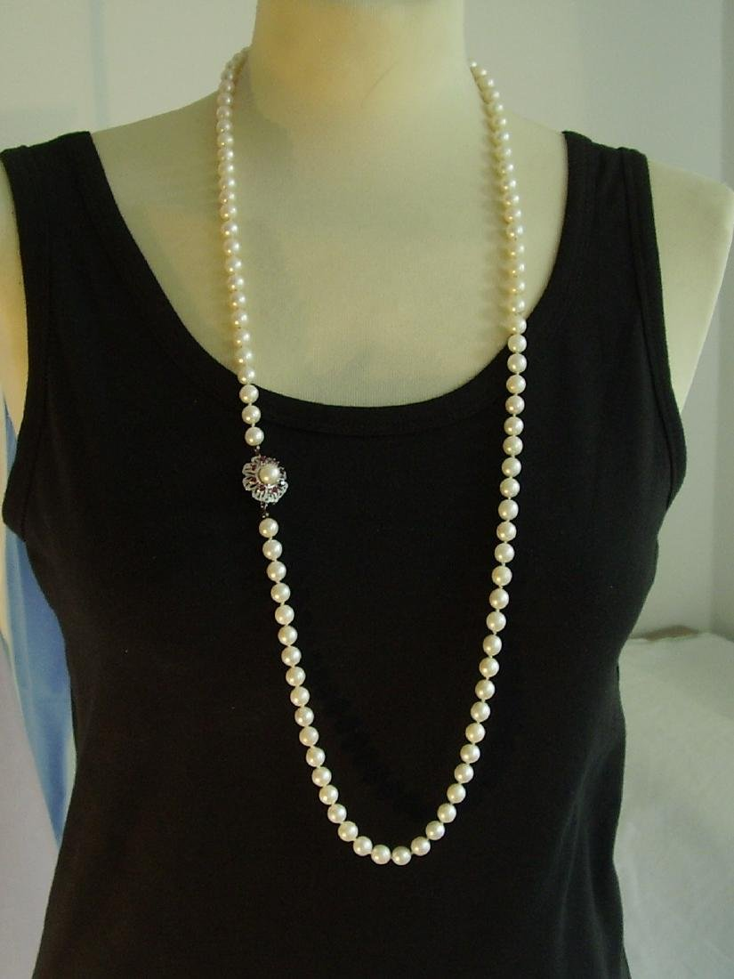 14K Gold Long Saltwater Japanese Akoya-pearls Necklace - 2