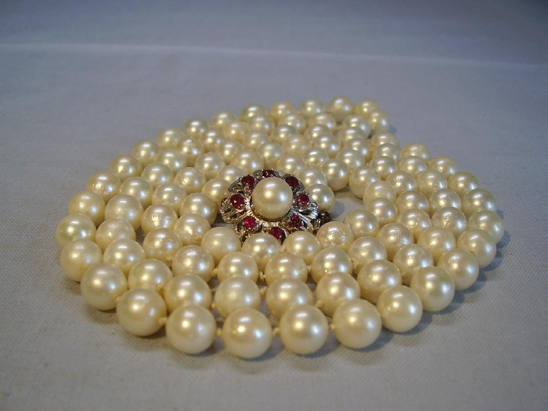 14K Gold Long Saltwater Japanese Akoya-pearls Necklace - 4