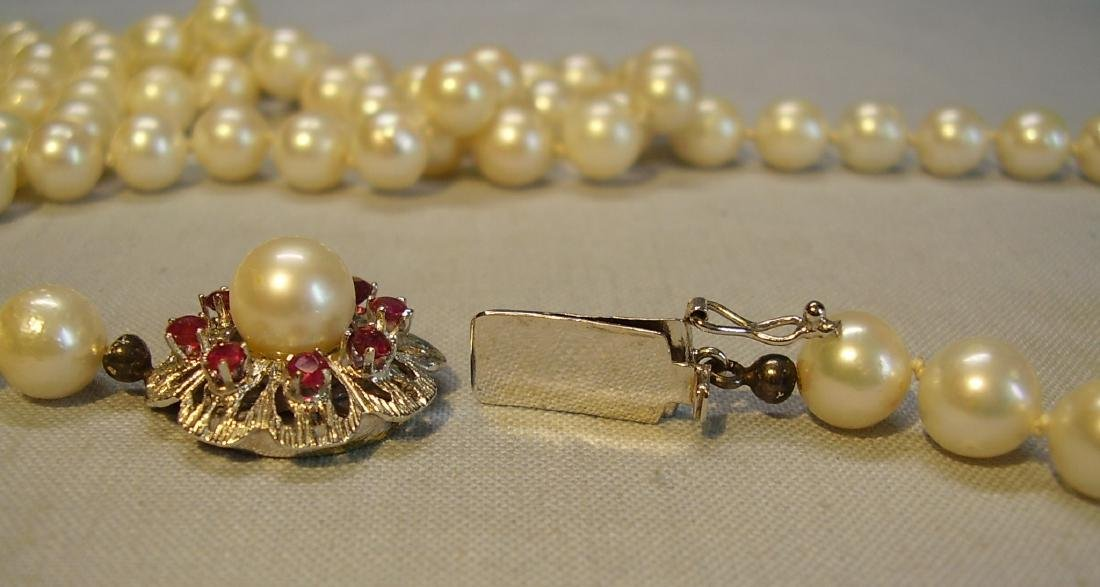 14K Gold Long Saltwater Japanese Akoya-pearls Necklace - 8