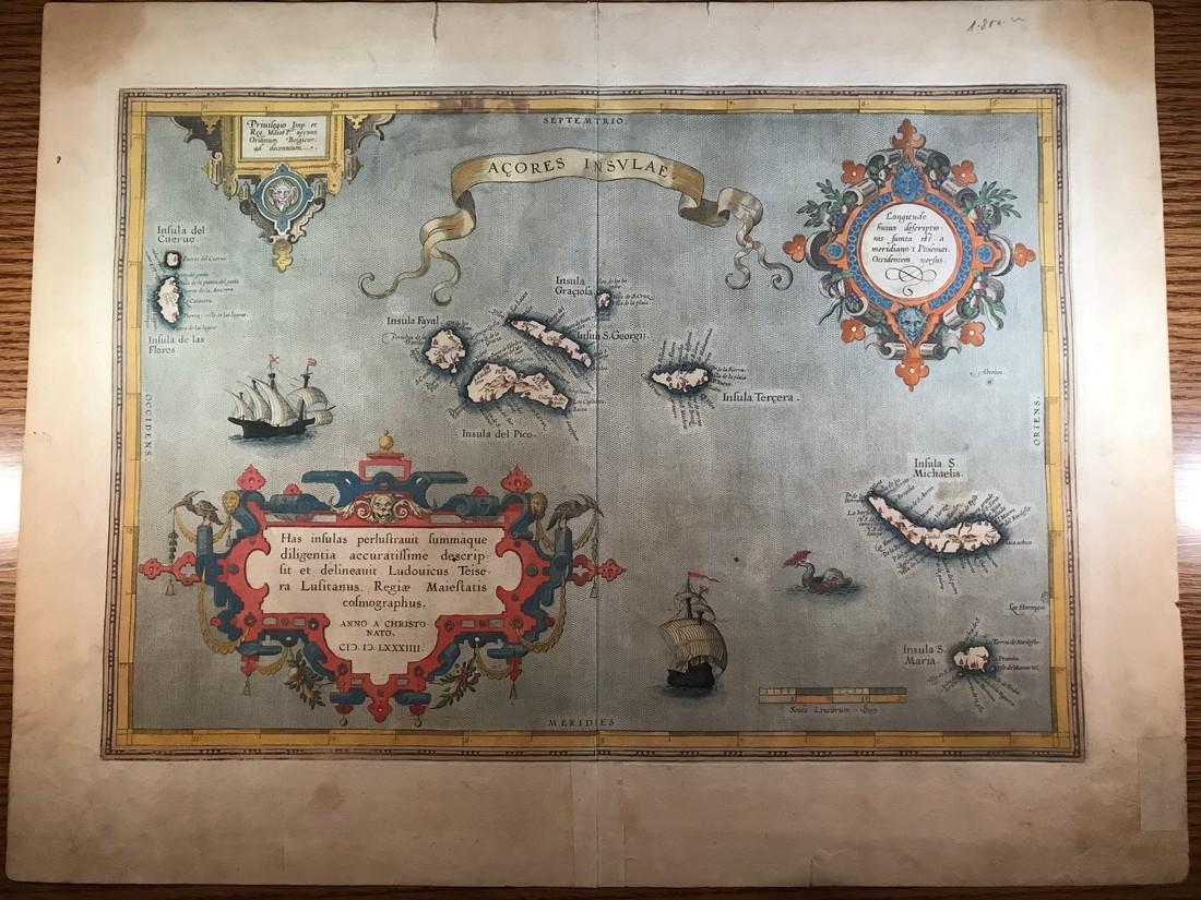 Ortelius Antique Map: Acores Insula
