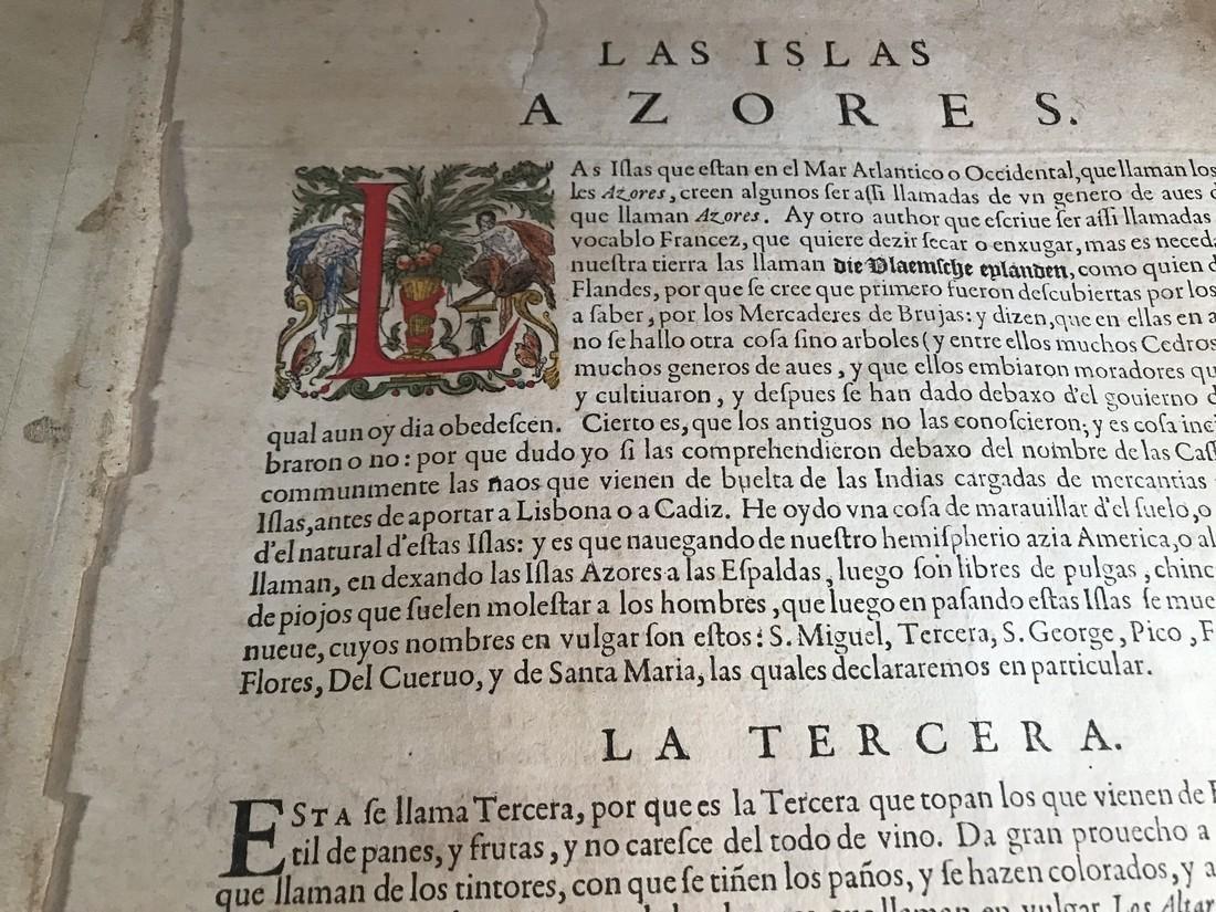 Ortelius Antique Map: Acores Insula - 3