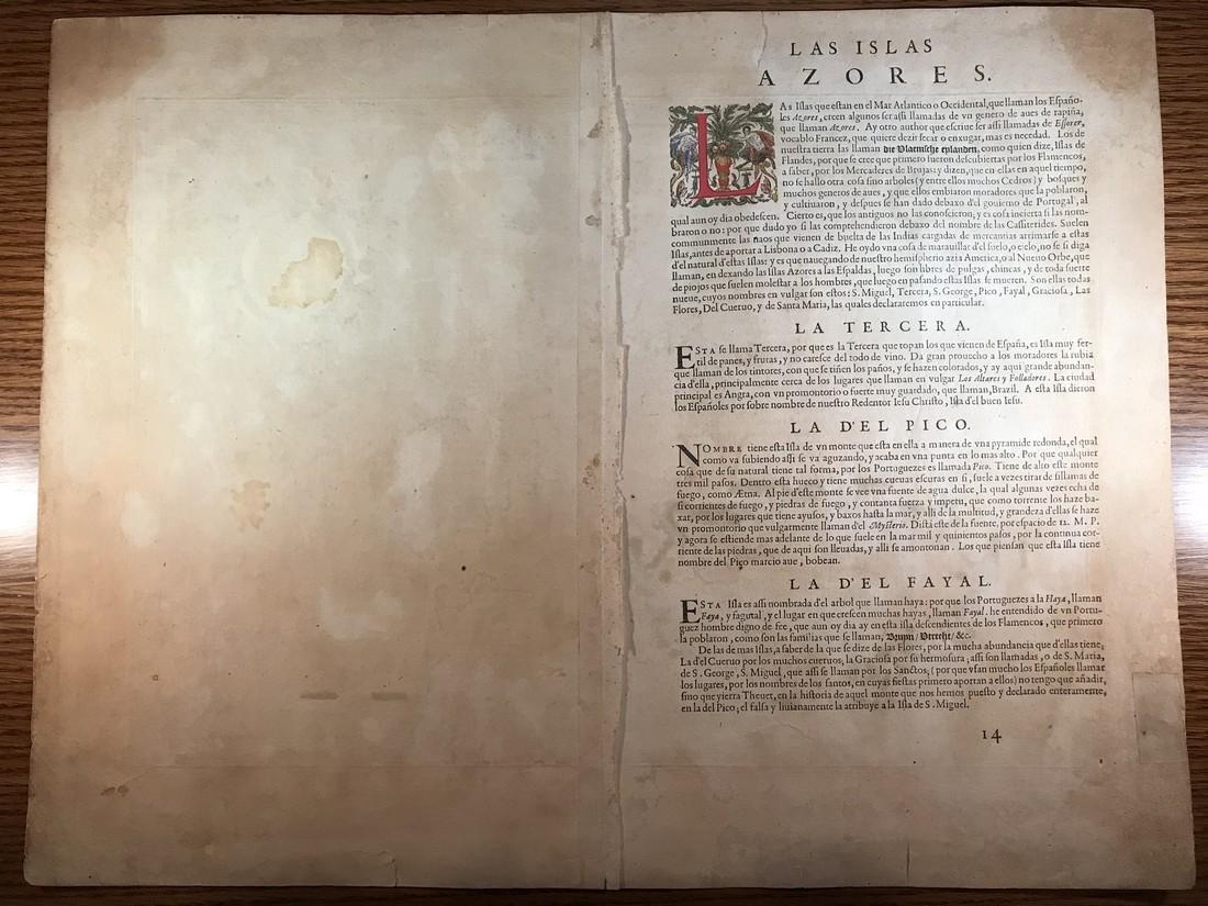 Ortelius Antique Map: Acores Insula - 4