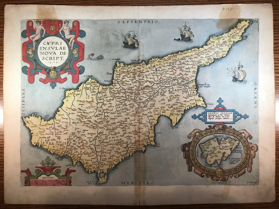 Ortelius Antique Map: Cypri Insula