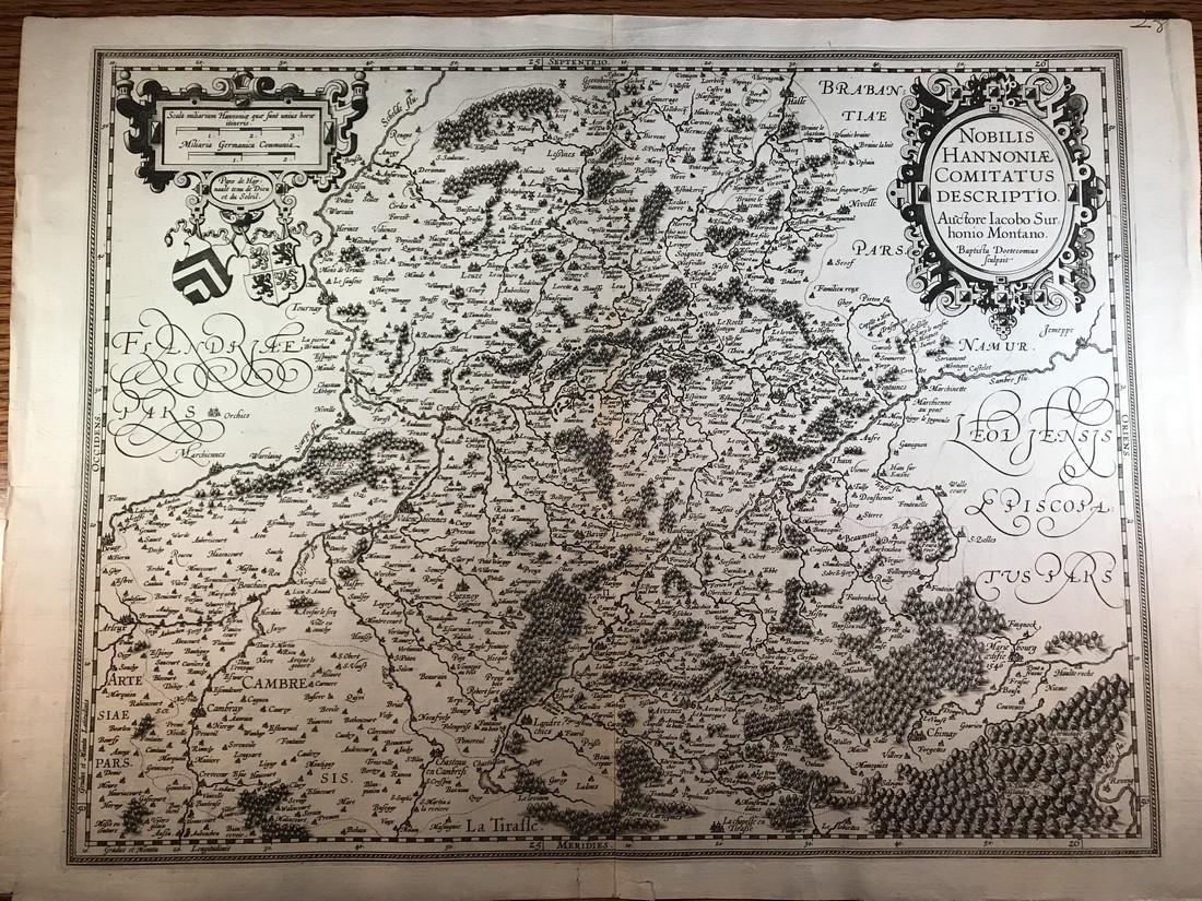 Ortelius Antique Map: Noblis Hannoniae Comitatus