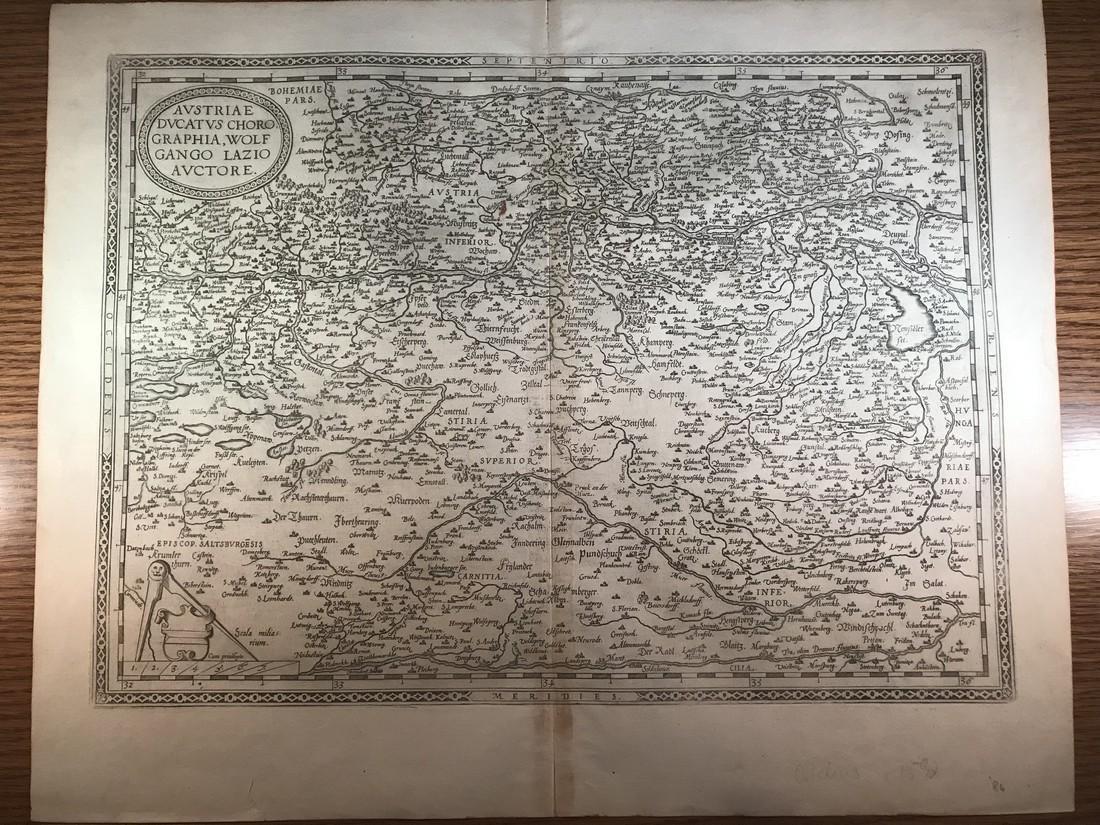 Ortelius Antique Map: Austriae Ducatus Chorographia