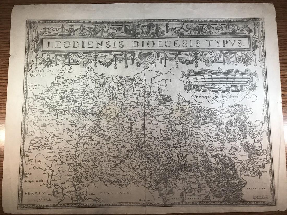 Ortelius Antique Map: Leodiensis Dioecesis Typus