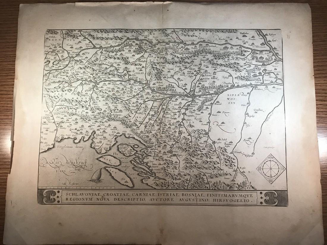 Ortelius Antique Map: Schlavoniae, Croatiae, Carniae,