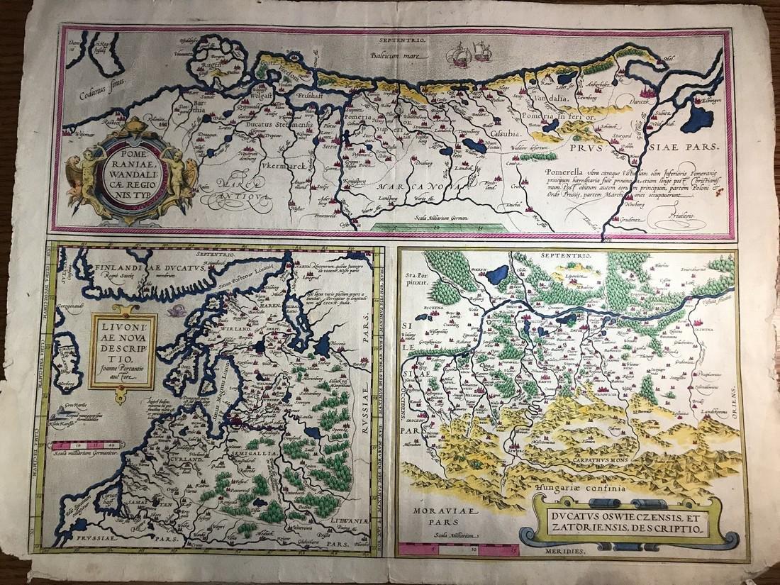 Ortelius Antique Map: Livoniae, Pomeraniae