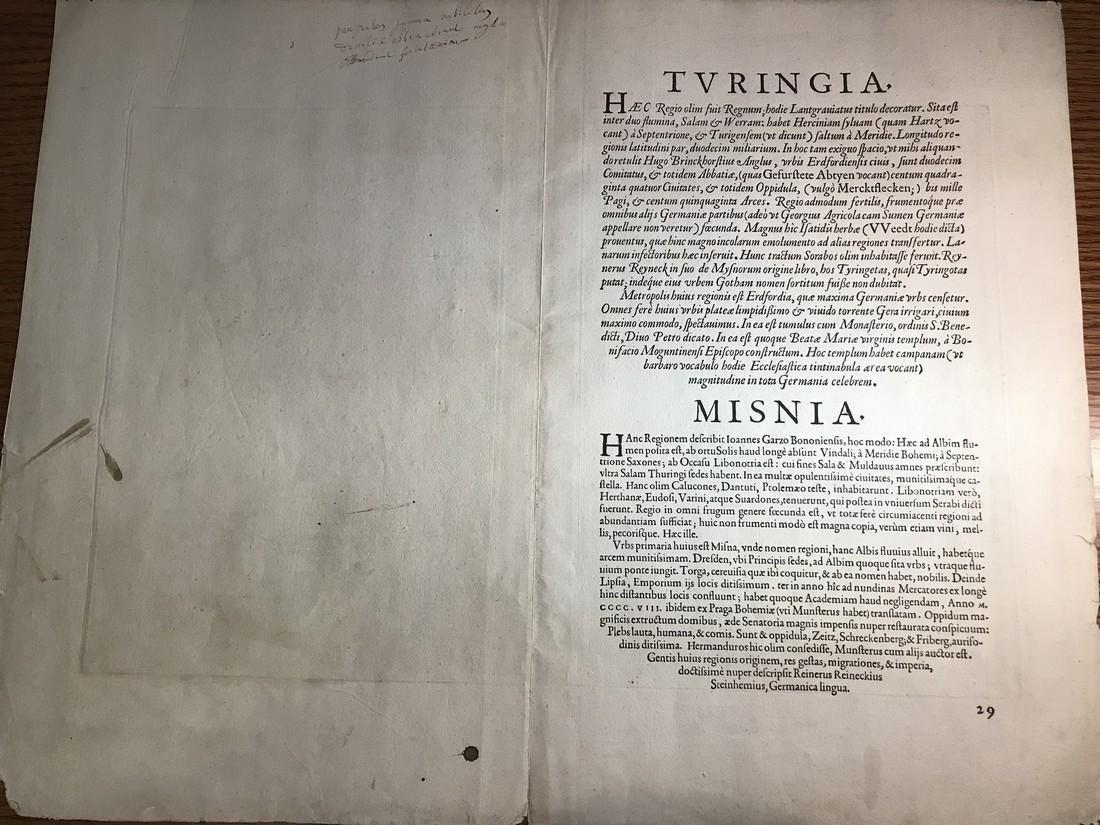 Ortelius Antique Map: Turingiae, Misniae et Lusatiae - 3
