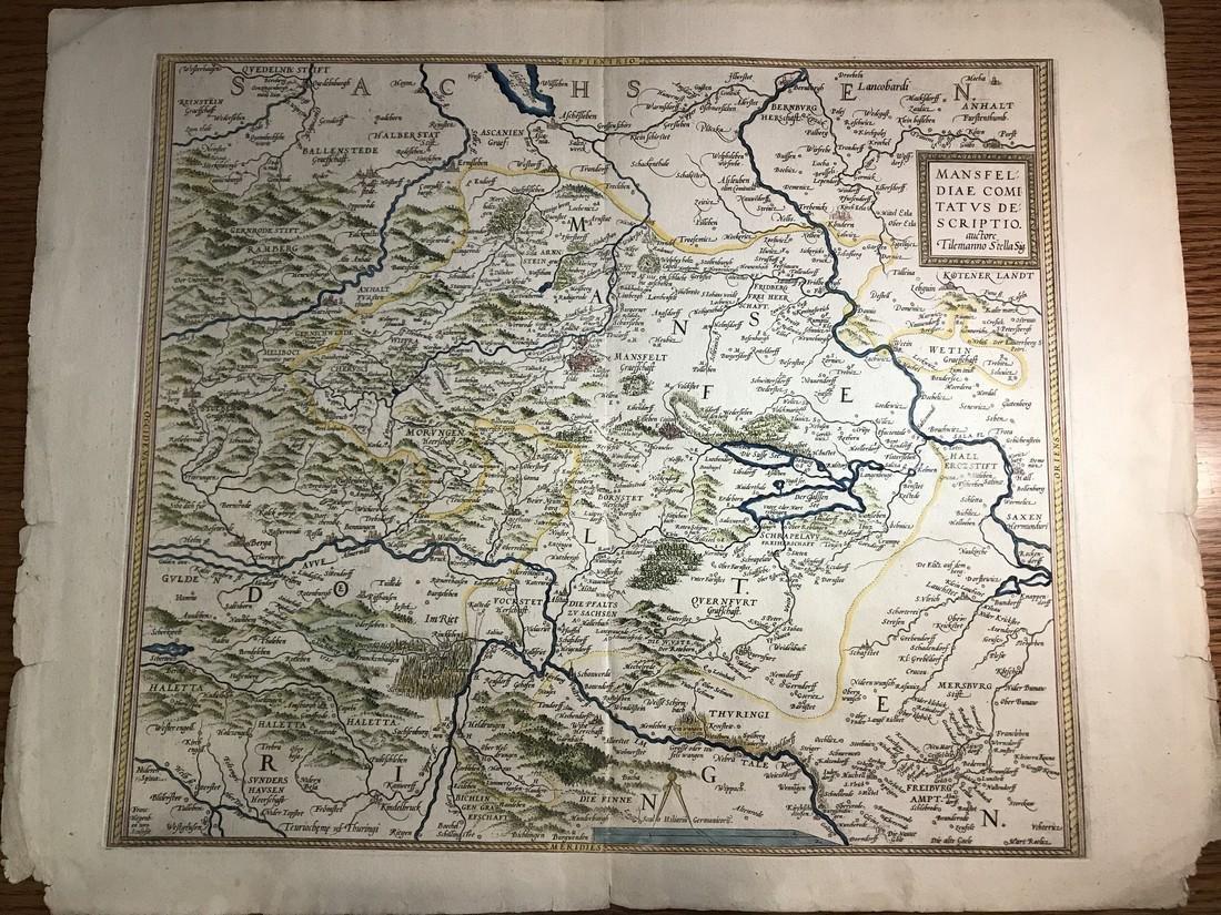 Ortelius Antique Map: Mansfeldiae Comitatus Descriptio