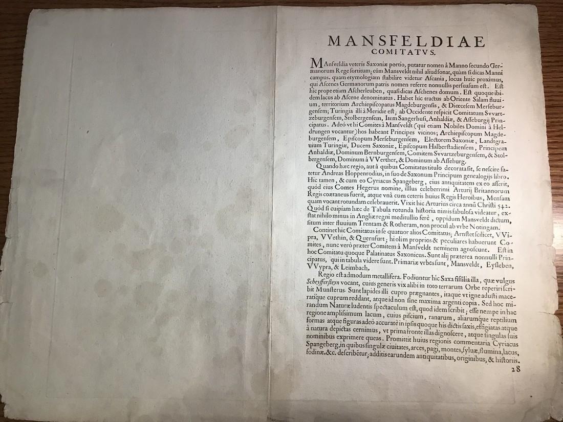 Ortelius Antique Map: Mansfeldiae Comitatus Descriptio - 3