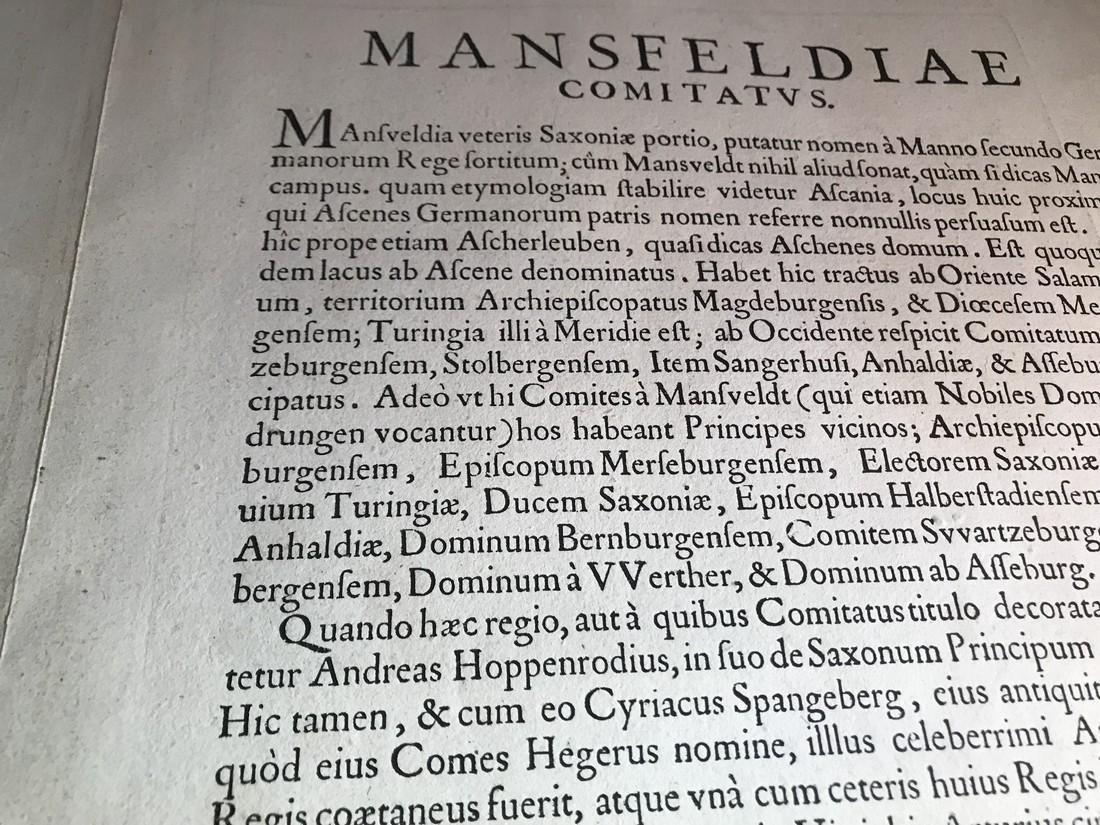Ortelius Antique Map: Mansfeldiae Comitatus Descriptio - 4