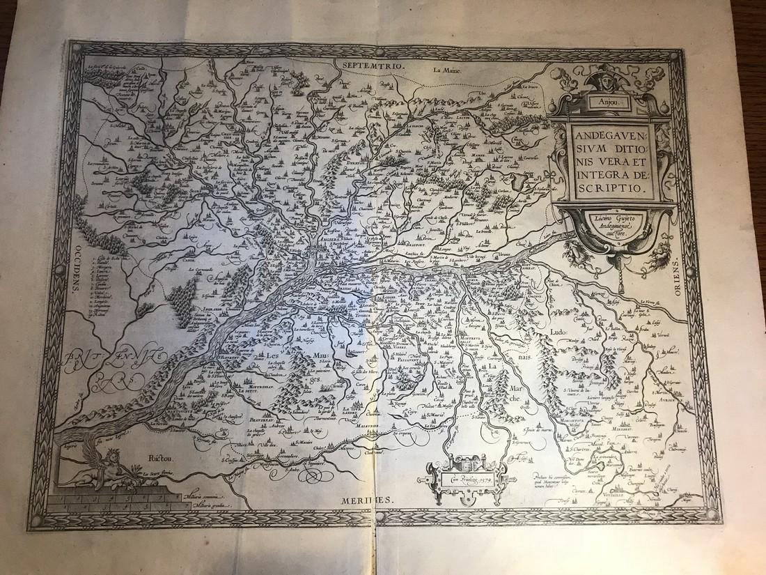 Ortelius Antique Map: Andegavensium Ditionis Vera Et
