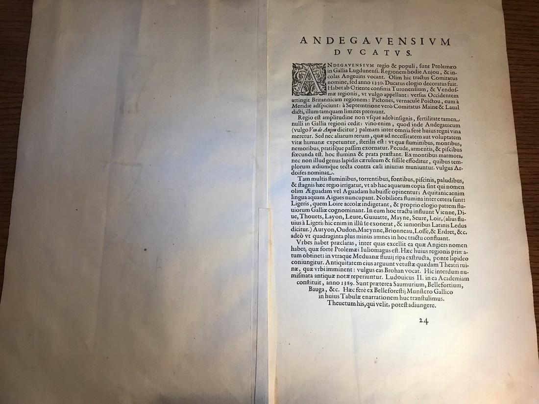 Ortelius Antique Map: Andegavensium Ditionis Vera Et - 3