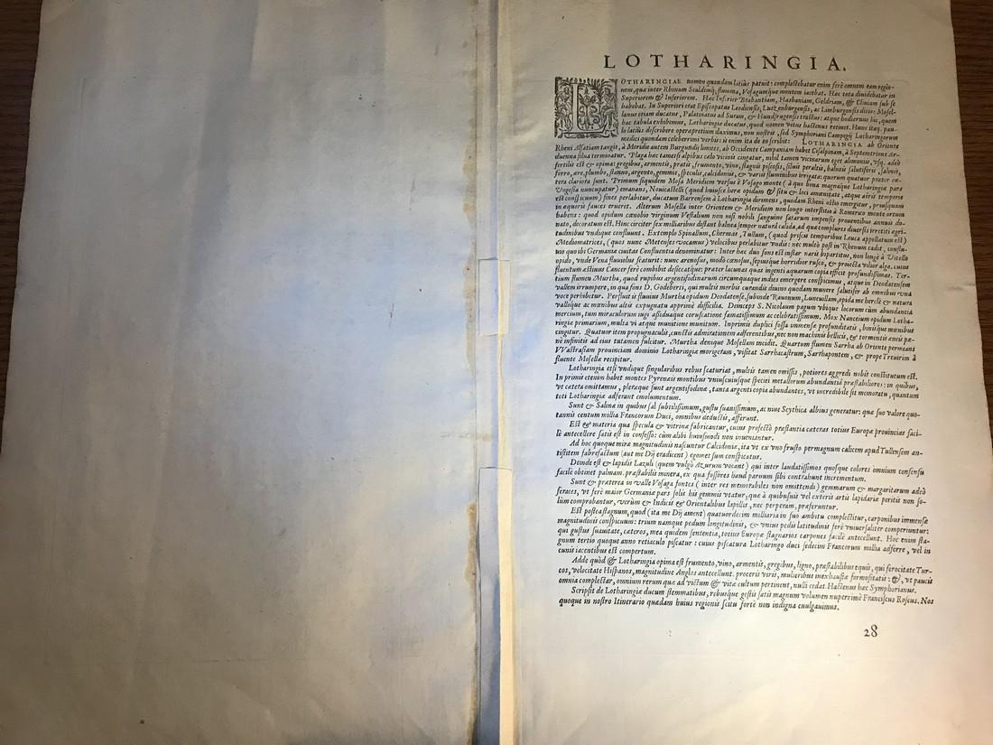 Ortelius Antique Map: Lorraine - Lotharingiae - 3