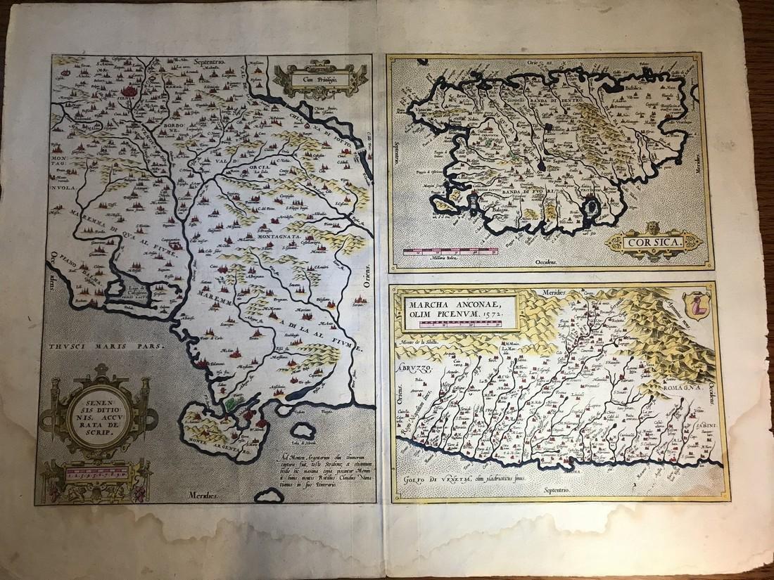 Ortelius Antique Map: Senensis Ditionis, Corsica,