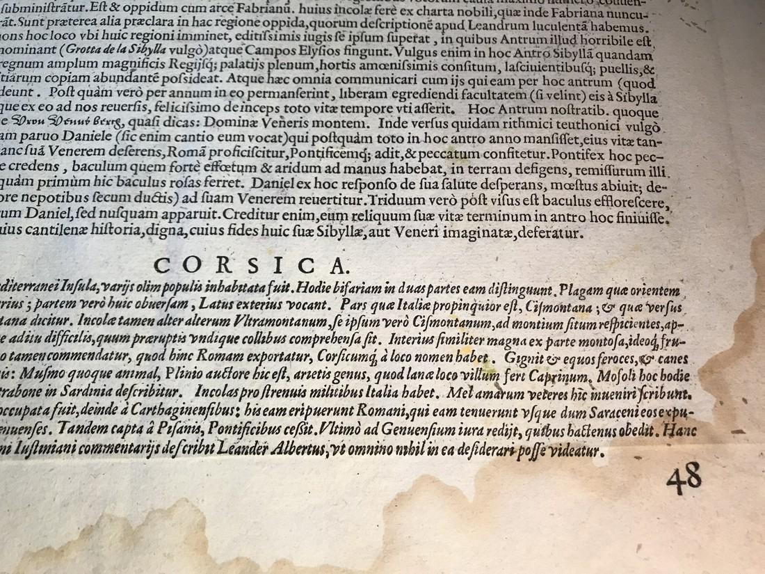 Ortelius Antique Map: Senensis Ditionis, Corsica, - 5
