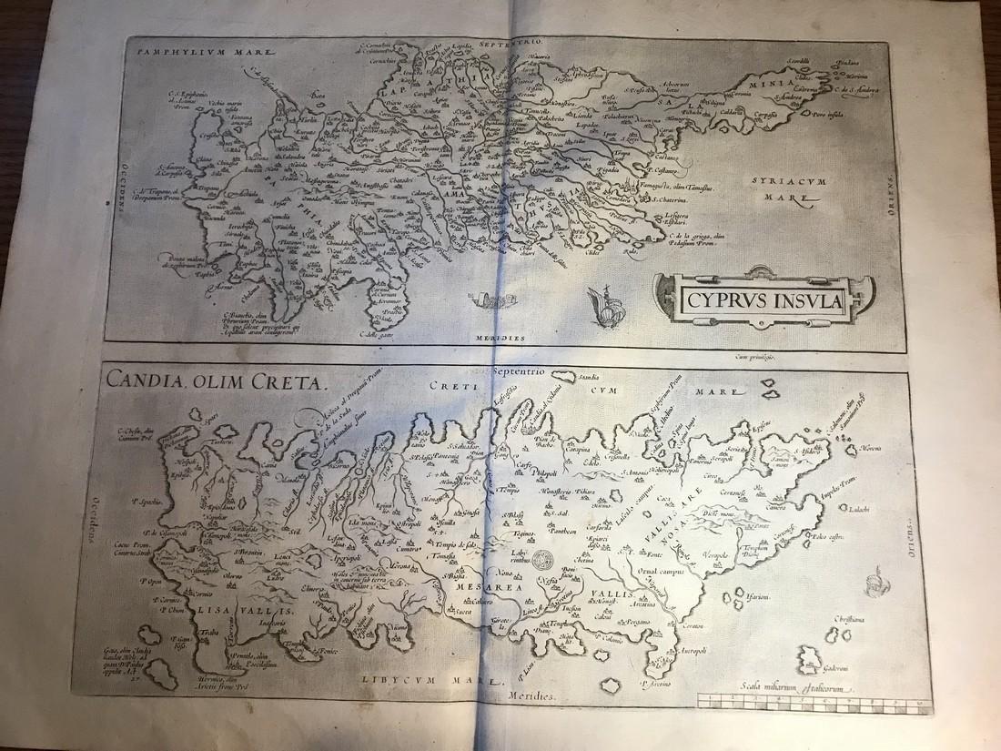 Ortelius Antique Map: Cyprus Insula, Candia Olim Creta
