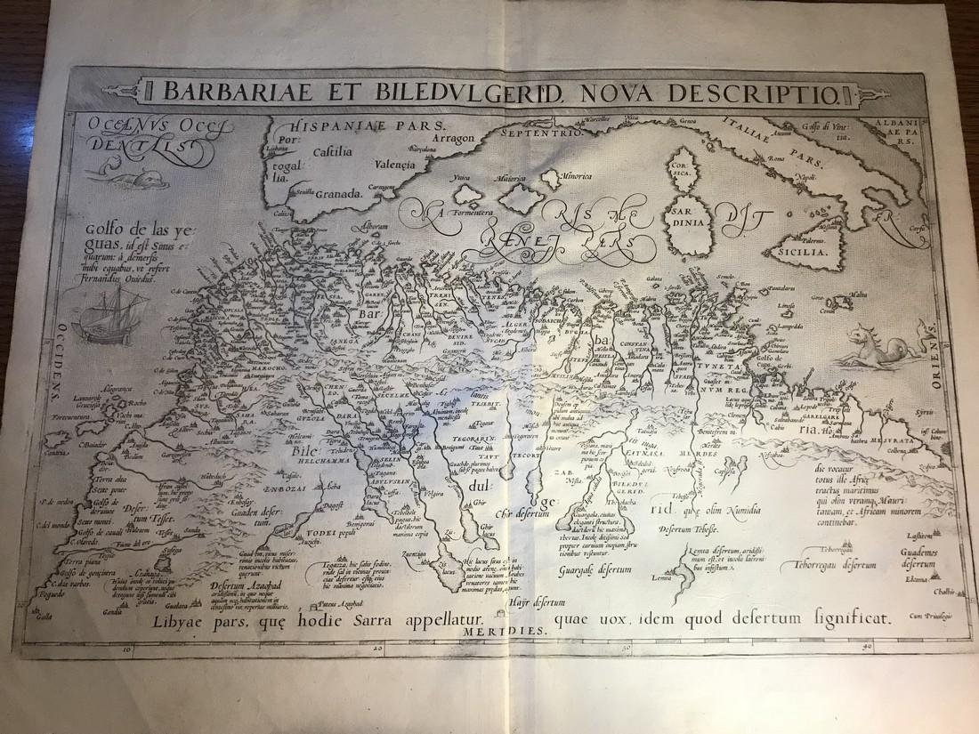 Ortelius Antique Map: Barbariae Et Biledulgerid Nova