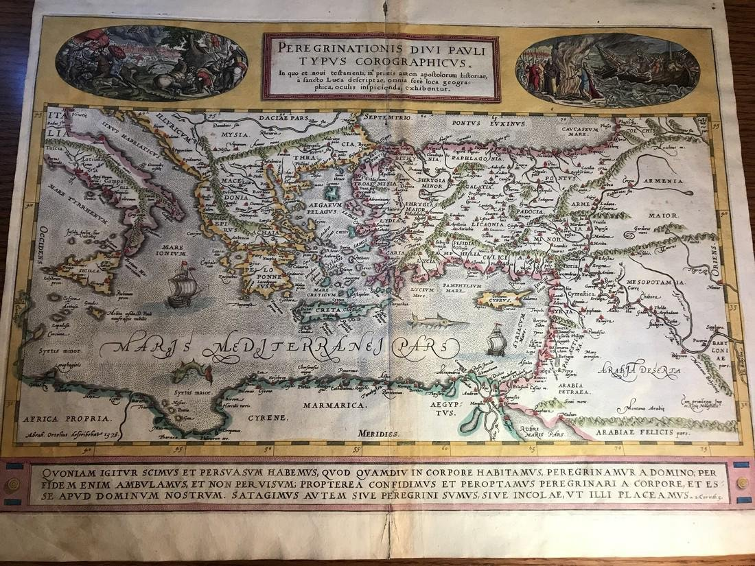 Ortelius Antique Map: Peregrinationis Divi Pauli