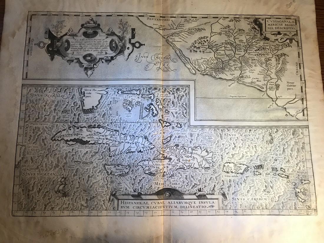 Ortelius Antique Map: Culiacanae, Hispaniolae, Cubae,
