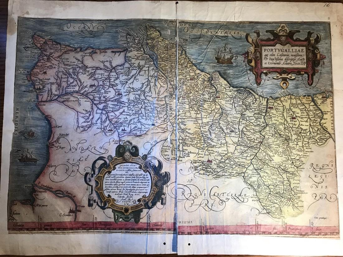Ortelius Antique Map: Portugalliae