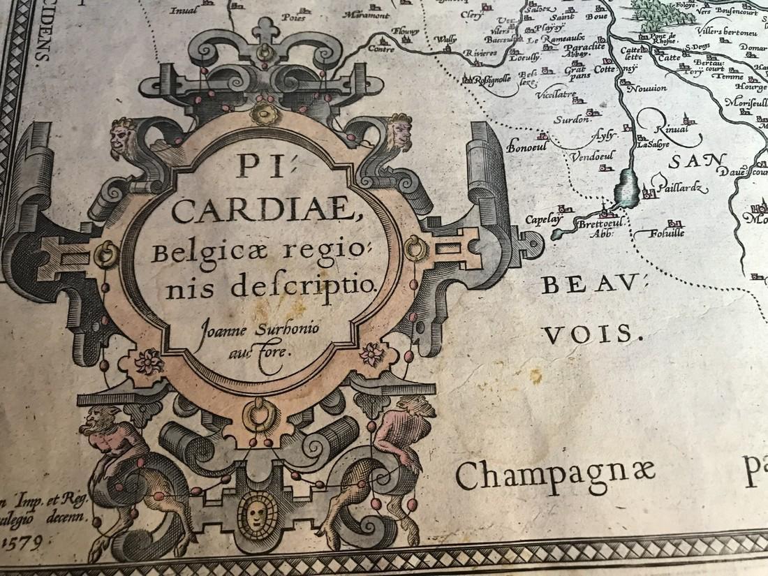 Ortelius Antique Map: Picardiae Belgica Regionis - 2