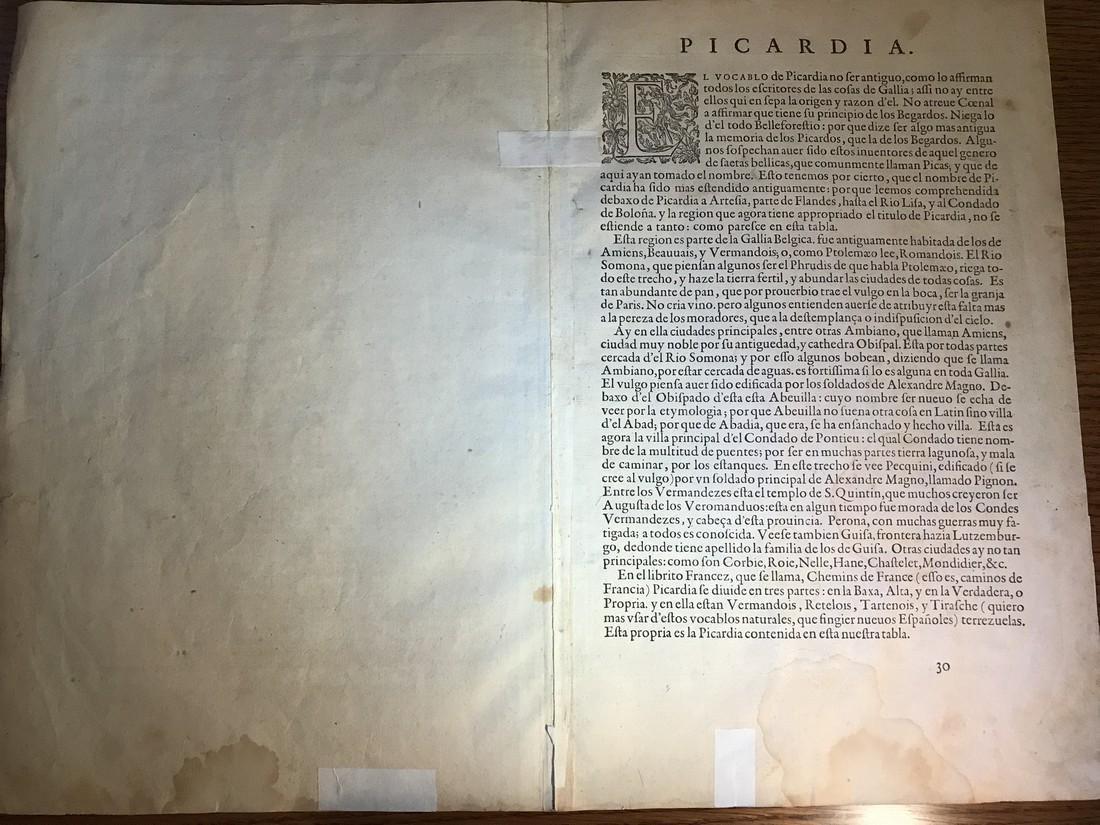 Ortelius Antique Map: Picardiae Belgica Regionis - 3