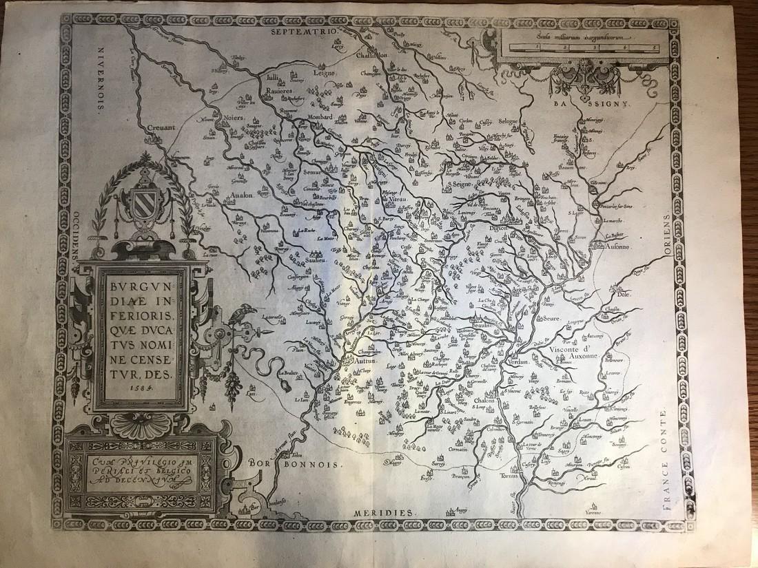 Ortelius Antique Map: Burgundiae Inferioris Que