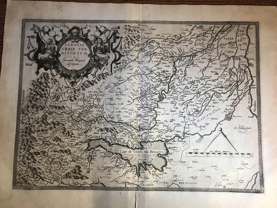 Ortelius Antique Map: Veronae Urbis Territorium