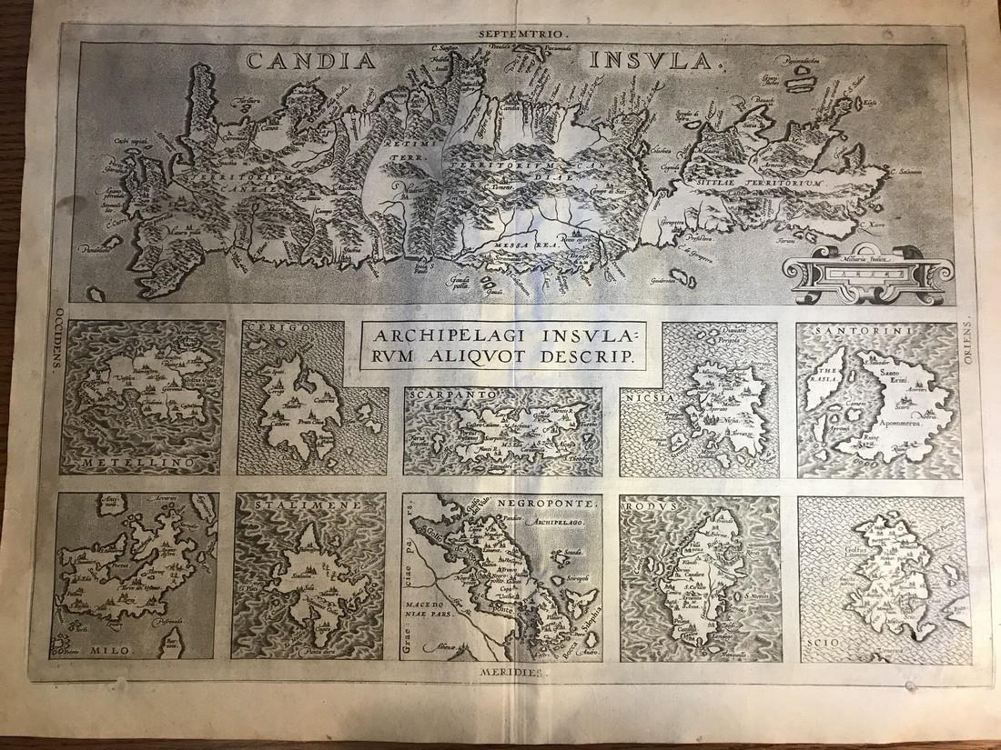 Ortelius Antique Map: Candia Insula, Archipelagi