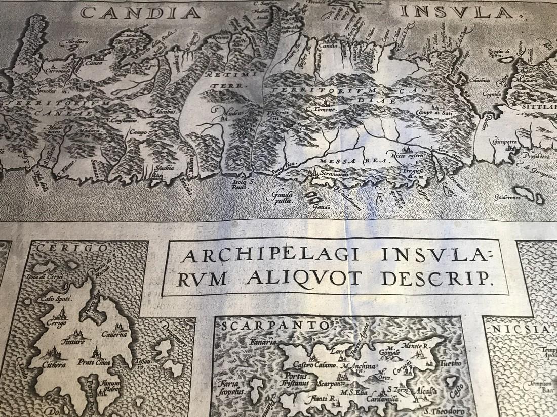 Ortelius Antique Map: Candia Insula, Archipelagi - 2