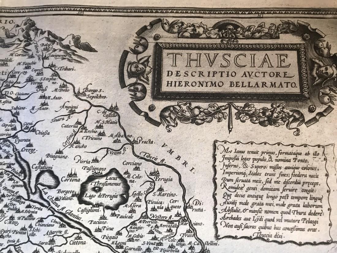Ortelius Antique Map: Thusciae - 2
