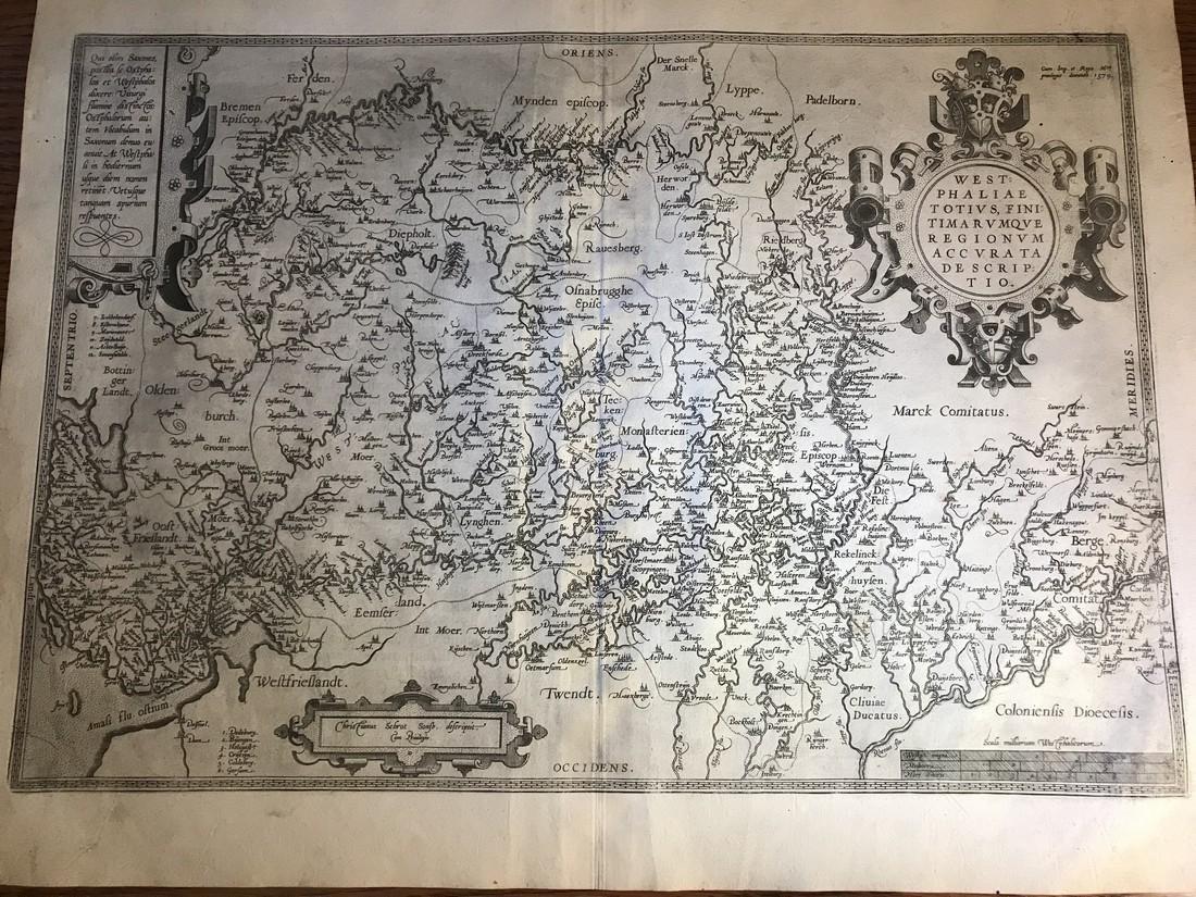 Ortelius Antique Map: Westphaliae Totius Finitimarumque