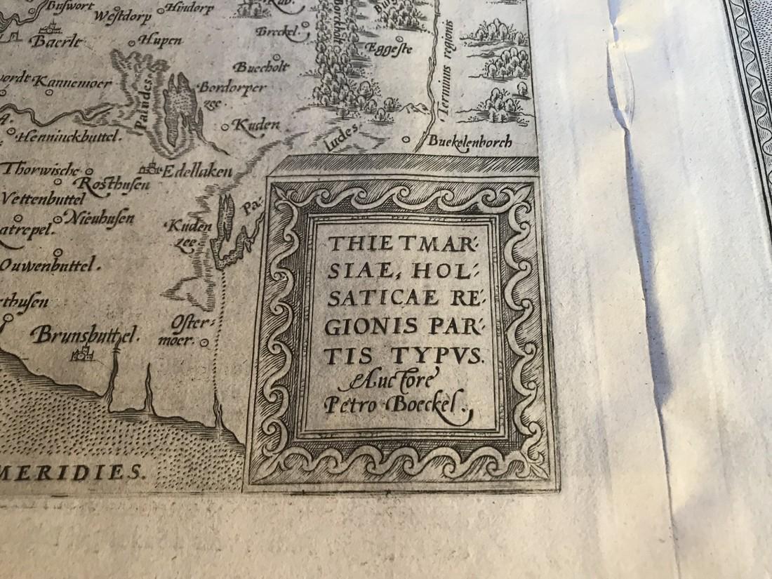 Ortelius Antique Map: Thietmarsiae Holsaticae Regionis - 2