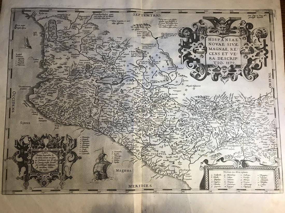 Ortelius Antique Map: Hispaniae Novae Sivae Magnae