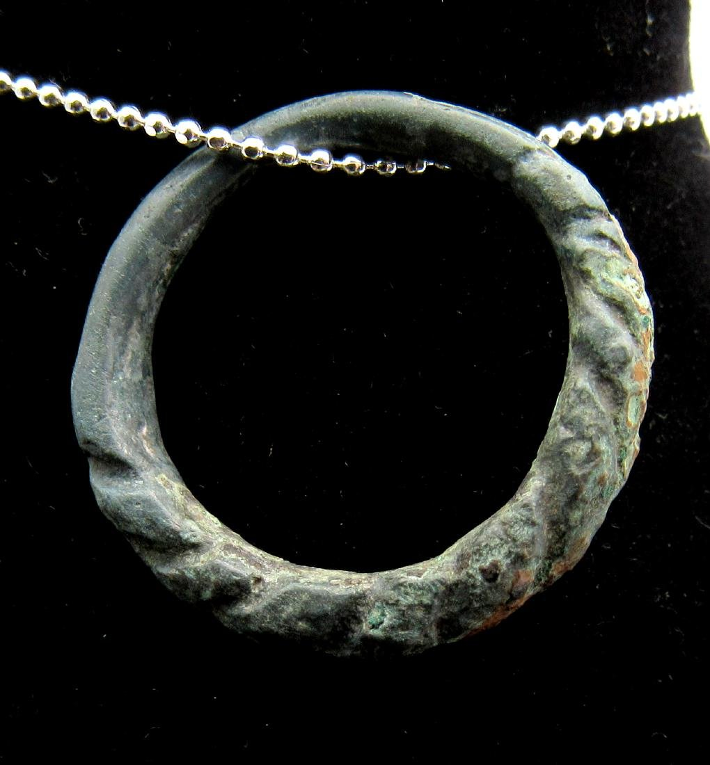 Medieval Viking Bronze Twisted Ring Pendant