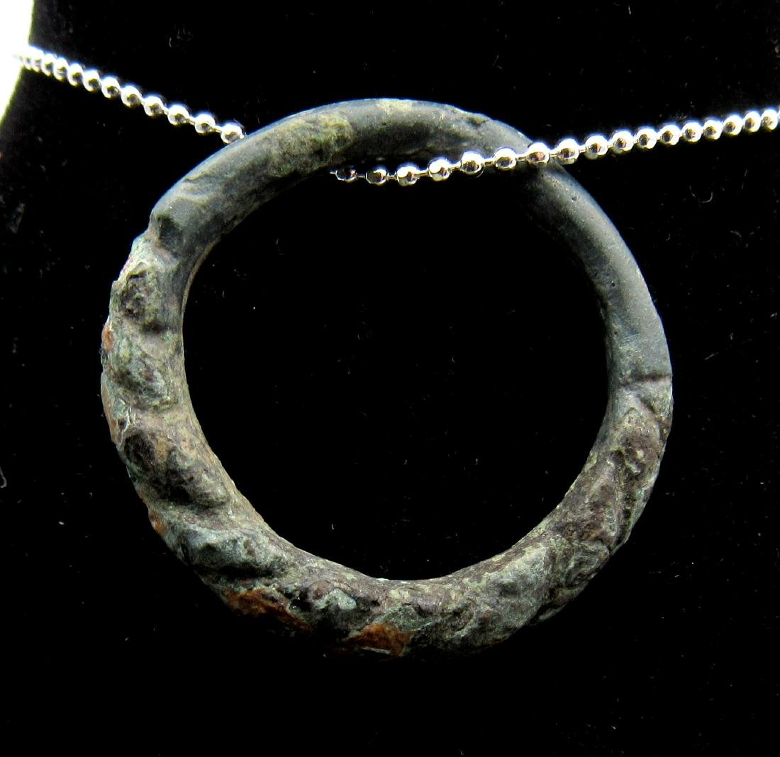 Medieval Viking Bronze Twisted Ring Pendant - 2