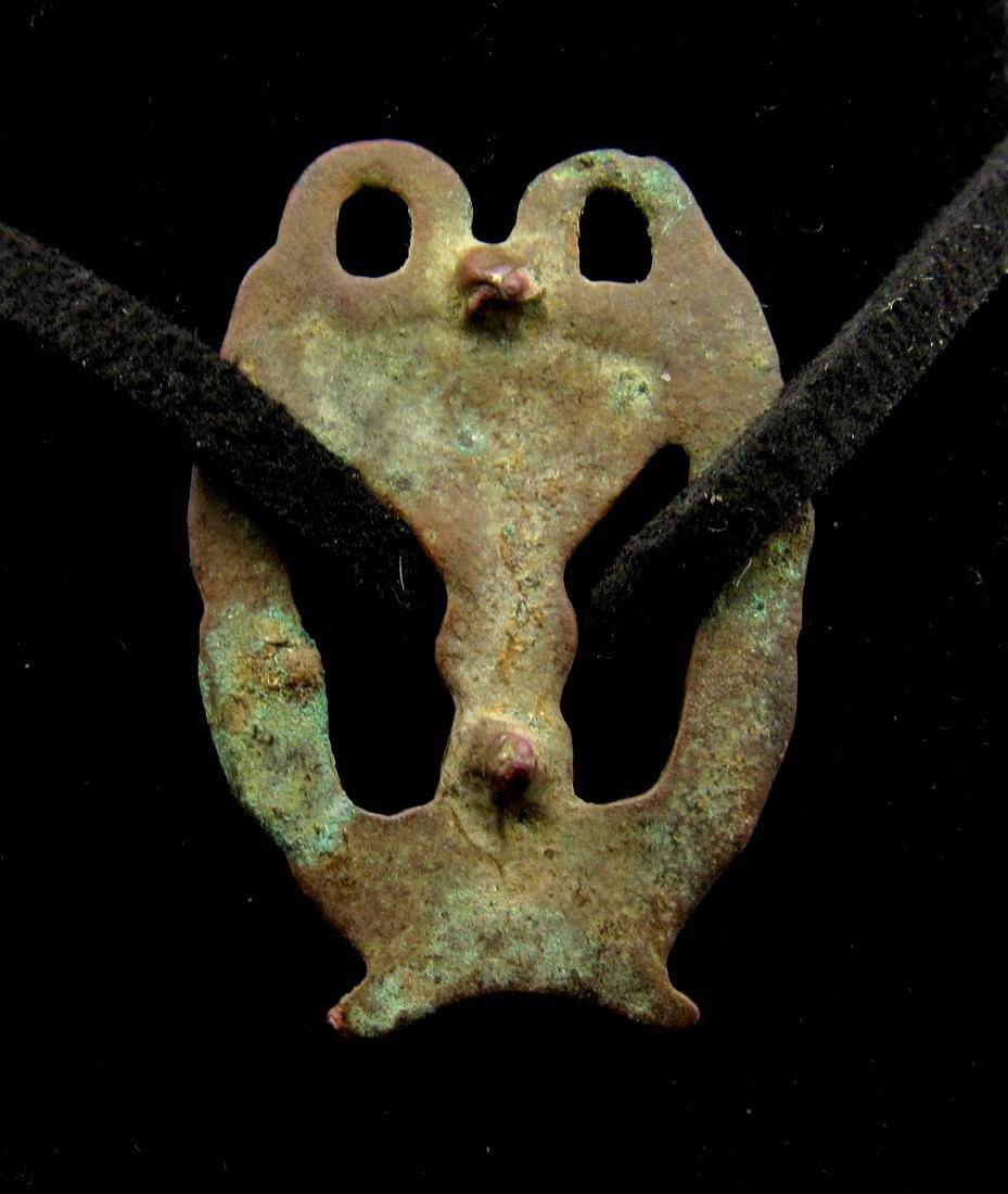 Medieval Viking Bronze Interlaced Open-Work Pendant - 2